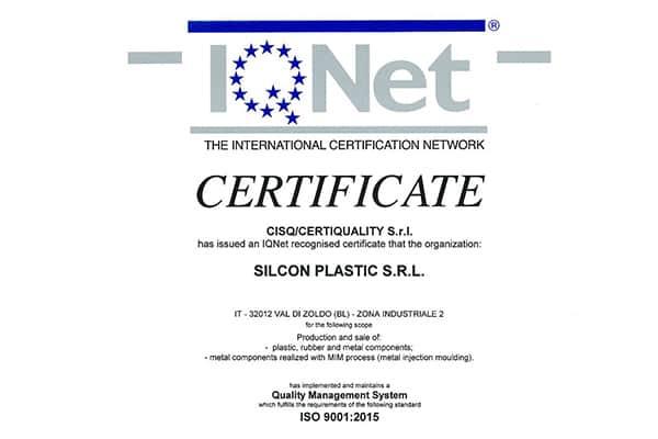 2004 Certificato IQNET ISO 9001 Silcon Plastic - Val di Zoldo